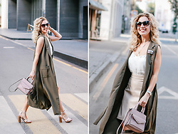 Margarita Maslova - Rebecca Minkoff Bag, Incity Long Vest - Khaki vest & leather milk skirt