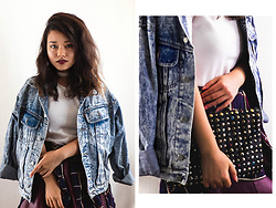Siree T.H.T - Demin Jacket, Wego Faux Collar Shirt, Forever 21 Faux Leather Skirt - Teen Spirit