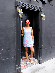 Iamperlita - Express Light Blue Floral Romper, Zerouv Pink Rimless Sunglasses - .charleston.