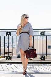 Meagan Brandon - Striped Shirt Dress Only $12!, Braided Belt, Brahmin 'Gabriella' Satchel, Similar Sandals - Striped Dress and Textured Satchel