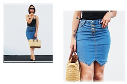 Maria Marques - Romwe Button Down Skirt - Button down skirt + Straw bag