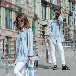 Diana Manolova - H&M Boyfriend Denim Shirt, Zara White Jeans, Buffalo Metallic Bag, Bershka Sunglasses, Little Red Boot Sandals - Meet me in space