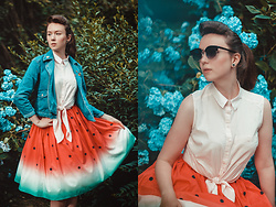 Stu Allotropia - Pull & Bear Denim Jacket, Reserved Shirt, Watermelon Skirt, Call It Spring Black Sunglasses - Rhododendrons&Watermelon