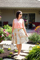 Lindsey Puls - Retrolicious Map Midi Skirt, Kate Spade Bag, Modcloth Top, Quay Sunglasses - Clothes Worth Repeating