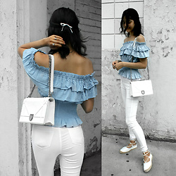 Florencia R - Gs Love Blue Ruffle Top, Dior White Chain Bag, Gs Love White Jeans, Public Desire Espadrilles - Baby blues