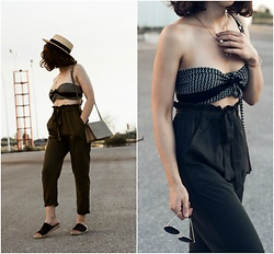 Theoni Argyropoulou - Stradivarius Straw Hat, H&M Necklaces, Satin Scarf, Paperbag Waist Trousers, Pull & Bear Sunnies, Shoulder Bag, Espadrilles Mules - How Wear your Scarf this Summer on somethingvogue.com