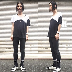 @KiD - Sob Apparel Black And White, Marc By Jacobs Key Necklace, Funk Plus White Bracelet, Lee Skinny, A Moment Your Life Combo Sneaker - Japanese Trash177