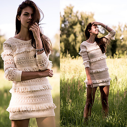 Jacky - Volcom Dress - Beige Fringe Dress