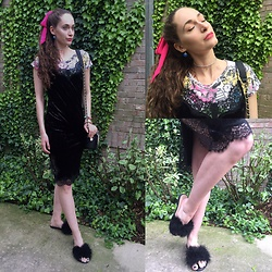 Pauline - Target Holographic Mermaid Choker, H&M Velvet & Lace Slip, Pink Pump Feather Slippers - Slip & Slippers