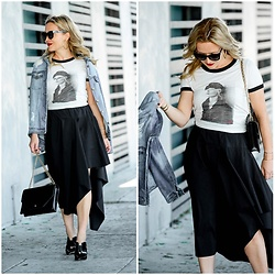Zia Domic - Obey X Debbie Harry Blondie Tee, Trouve Asymmetrical Skirt - Blondie & Black
