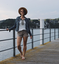 Nera K - H&M Shorts, Stradivarius Shirt, C&A Denim Jacket - Lake life