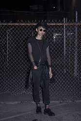 Samuel Oh - Forever 21 Mesh Fitted Shirt, Leather Suspenders, Leather Cuff, American Apparel Black Windbreaker, Dr. Martens Marten's Original Oxford Shoes - FISHNETS