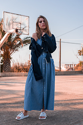 Swantje Sömmer | OffwhiteSwan - Topshop Denim Jacket, All Items On My Blog - Dress, Denim Jacket & Marc Jacobs Slides