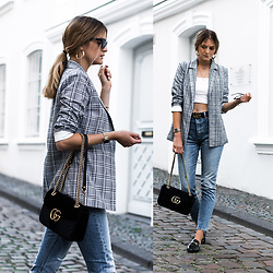 Catherine V. - Missguided Blazer, Gucci Marmont, Levi's® 501 Skinny, Missguided Off Shoulder Crop, Gucci Marmont Belt, H&M Loop Earrings, Zaful Mules, Asos Sunglasses - HOW TO WEAR A BLAZER WITH A CROP TOP