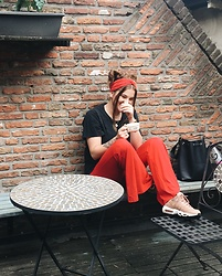 Odette - Bershka Pants, Nike Sneakers, Bershka Headband - Red on red
