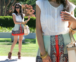 Adrienne Nguyen - Free People Flare Shorts, Reed Krakoff Boxer Satchel, Dkny White Cotton Top, Jessica Simpson Brown Leather Buckled Heels - A Flare For You
