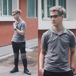 Seff Musa - Giordano Grey Polo Shirt, Forever 21 Jogger Pants, Pull & Bear Black Rubber Shoes - Alone + Easy Target