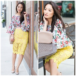 Kimberly Kong - Boohoo Floral Crop Top, Scoobie Lace Pencil Skirt - Florals Remixed for the Office