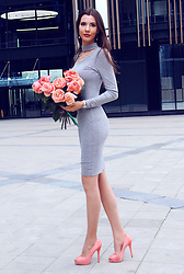 Ann Grigorieva - Shein Long Gray Dress, Aldo Light Pink Heels - Light-pink creamy roses & long grey dress