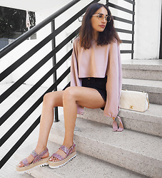 Karen Or - Bershka Sandals, Chanel Bag - XL Sleeves and Glitter Shoes