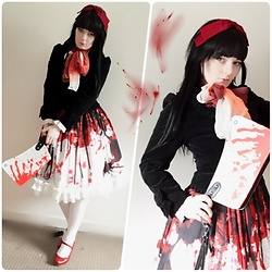 Lou Graves - Innocent World Velvet Jacket, Triple Fortune Blood Splatter Skirt, Kreepsville 666 Hatchet Handbag, Berunika Red Bow - Tomie