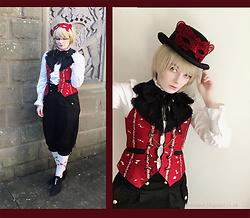 Lou Graves - Alice And The Pirates Red Waistcoat, Bodyline Black Shorts, Unif Cross Cut Out Shoes - Red Waistcoat