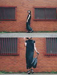 Yuko Tanaka - H&M Top, H&M Dress, Sense Of Place By Urban Research Bag, Niko And Sandals - All in black