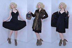 Suzi West - Beauty Depot Wig, Arden B Leopard Coat, Accoutrements Leopard Bowling Bag, Forever 21 Little Black Dress, Jeffrey Campbell Shoes Leopard Lita Boots - 17 June 2017