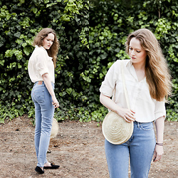Emily S. - Chiffon Blouse, Levi's® High Rise Jeans, Www.Etsy.Com Woven Circle Bag, Steve Madden Loafers - Blue Jeans, White Shirt