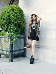 Erika - Aritzia Utility Jacket, H&M Skater Dress, Jeffrey Campbell Shoes Lita Boots, Louis Vuitton Alma Pm Bag - Safari Glam