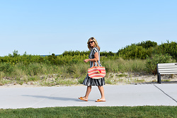 Jaclynn Brennan - Zara Striped Dress, Zara Satin Bow Slides, Old Navy Beach Bag - Seeing Stripes