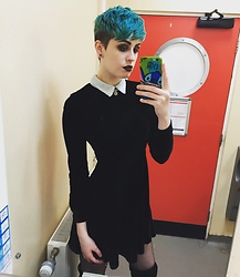 Abbie C - Topshop Velvet Dress, Boohoo Thigh High Boots, Primark Fishnet Tights - Velvet love