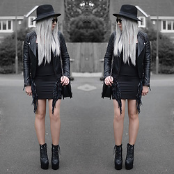 Sammi Jackson - Topshop Biker Jacket, Oasap Quilted Bag, Jeffrey Campbell Damsel Spike Wedges - BLACK FRINGES