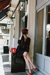 Andreea Birsan - Red Beret, Polka Dot Long Sleeved Mini Dress, Red Leather Crossbody Bag, Red Suede Slingback Shoes - The photographer