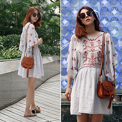 Rekay Style - Miu Round Sunglass, Chloe Hudson Bag, Zara Embroidery Dress - Girly Boho