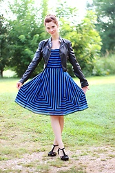 Bleu Avenue - Anthropologie Black And Blue Stripe Dress, Qupid Black T Strap Heels - Electric Blue