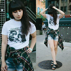 Camila C - Band Merch Sonic Youth Tshirt, Vintage Flannel, Levis Shorts, Birkenstock Arizona Sandals - Post Acid