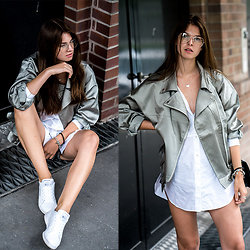 Jacky - Missguided Jacket, Reebok Sneakers -  How to combine a white shirt dress