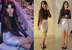 Isabel O - Bik Bok Mesh Body, Missguided Mini Skirt, Terranova Black Top, New Look High Heels - Wedding party no. 1