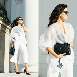 Edisa Shahini - Aquazzura Shoes, Saint Laurent Bag, & Other Stories Pants, Tod's Sunglasses, Laison By Aurelia Santos Kimono - ORGANZA
