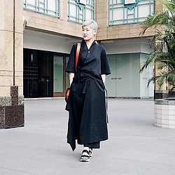 Anastasia Goenawan - Le Muse Kimono Top, Yohji Yamamoto Black Pants, G.U High Sole Sandals - Red on Black