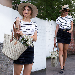 Catherine V. - H&M Straw Hat, Don't Tell Mama T Shirt, Missguided Ripped Denim Skirt, Zaful Mules, Gucci Marmont Belt - DENIM SKIRT AND FLOWER BASKET