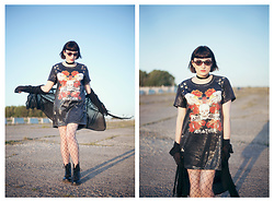 Amy Souter - One Above Another Sequin Print T Shirt Dress, Boohoo Sheer Fringed Kimono, Boohoo Fishnet Tights, Dr. Martens Dr Marten Patent Leather Boots, New Look Pvc Choker, Primark Heart Shaped Glasses - One Above Anohter
