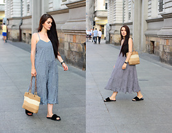 Justyna Lis - Mango Checked Dress, Chloé Fluffy Flats - Checked dress & basket bag