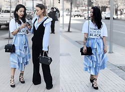 Vivi Valenzuela - Shein Bow Tie Ruffle Skirt, Index Graphic Tee, Lace Up Heels - STRIPES & RUFFLES