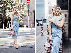 Margarita Maslova - T Skirt Top, T Skirt Denim Dress, Rebecca Minkoff Bag - Feathers