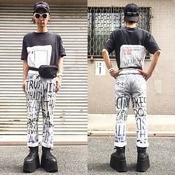@KiD - (K)Ollaps Ambient Techno, W&Lt Post Card, W&Lt Rakugaki Pants, Buffalo Platform, Rvca Waist Porch, Funk Plus White Bracelet - Japanese Trash183
