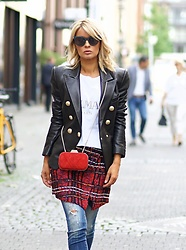 Gitta Banko - Balmain Leather Jacket, Balmain Skirt - Balmain
