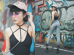 Samantha Mariko - Done Cap, Zerouv Sunglasses, Asos Top, Urban Outfitters Jeans, Public Desire Heels - We are done