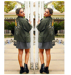 SV - Express Parrot Embroidered Army Jacket, H&M La Dress - Parrots